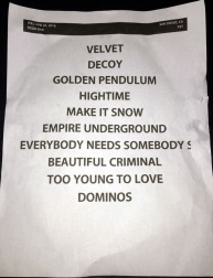 Big Pink 28 set list